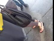 Candid mature feet, sexy red toes
