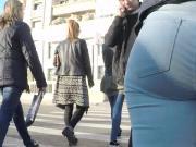 Slowmo City girl in jeans