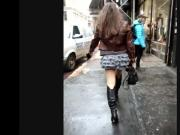 Candid Leather Sexy Babe in Leather boots