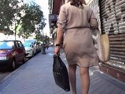 Mature VPL Through Beige Dress