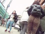 Leopard print legging teen ass jiggle