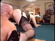 Married red head whore deep throats a hard cock then fucks