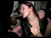Brit slut blowin' bunch of horny doggers
