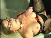 Nice German blonde MILF in stockings pays him off