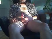 Uncut Latino Bearded Bear Jerks In Chair
