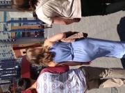 Nice white girl booty in long blue dress