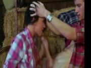 brunette slut fuck in a haystack