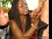 2 white thugs fuck gorgeous African MILF