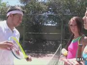 Instructor fucks teens at the tennis court