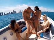 Lusty babes love group sex in motor boat