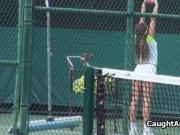 Fucking a hottie in tennis courts shower
