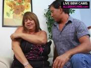 BBW Blonde Lady Blows Throbbing Pole