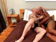 Black muscled dude drools on white dick