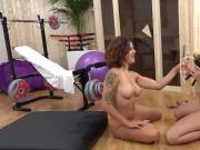 Naked lesbos dive in piss and use wet toys