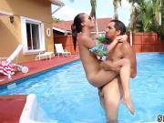 Old man seduced by teen big tits Swimming In Semen