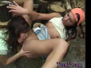 Blonde public no panties and lesbian split kiss Cutting wood and