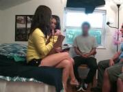Playful college girls learning to give blowjob