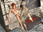 Sexy 3D redhead babe gets fucked by a goblin