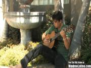 Guitar Playing Cute Latino Jacks Off His Nice Cock