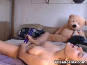 Amateur lovely big tits teen camgirl masturbates on webcam