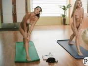 Huge boobs yoga teacher doing naked yoga