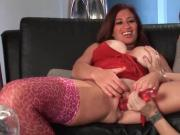 Big titted lesbo cougars using double dildo