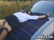 Slut Having Sex Outdoors On A Van