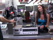 Brunette takes two and quick handjob before work Vinyl Queen!
