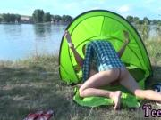 Amateur skinny big tits milf Eveline getting drilled on camping site