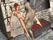 Foxy 3D cartoon redhead babe gets fucked by a goblin