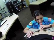 Sexy brave Police Officer shows her busty ass and willing to gets fucked for cash