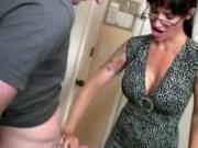Handjob mature tattooed and in glasses tugs for cum