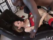 Blonde in lingerie Natasha Starr gets fucked by black Lexington