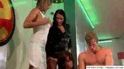 Booby chicks lick and kiss on dancefloor