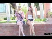 Teen slutty blonde gets twat fisted by lesbian GF