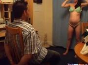 Fucking Her Tied Up BF On A Chair
