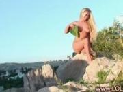 Amateur strip on the rock