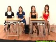 Asian schoolgirls give blowjob in class
