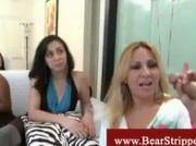 Bear stripper blowed balls deep by cfnm girls