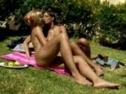 Beautifull tender babes undressed under the sun making love in pu