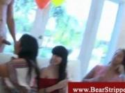 Ladies having fun with strippers cock