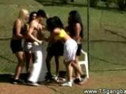 Sporty transsexuals undress the referee
