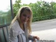 Blonde Flashes Tits And Finger Fucked On Public Bench
