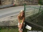 Wicked Looking Blonde Sucking Dick Outdoors In Public.