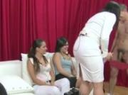 Guy uses penis pump in front of horny girls for their fun