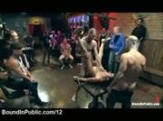 Bound gay gangbanged on the table in public bar