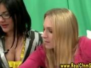 Cfnm slut in spex gives handjob