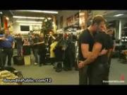 Gay tied and blindfolded in public leather store