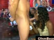 Black CFNM babe sucks off stripper at CFNM party