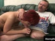 Horny handicapped man pounds naughty mature redhead on the couch